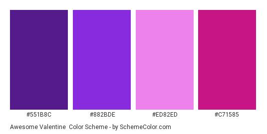 Awesome Valentine - Color scheme palette thumbnail - #551B8C #882BDE #ED82ED #C71585