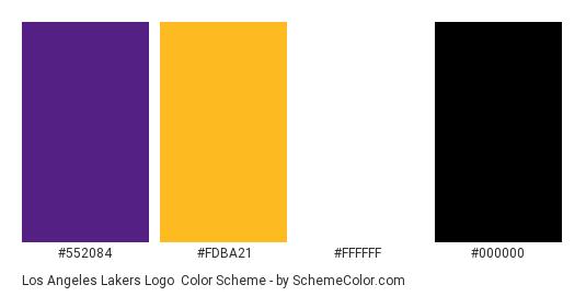b3093dee83c4 Los Angeles Lakers Logo - Color scheme palette thumbnail -  552084  fdba21   ffffff