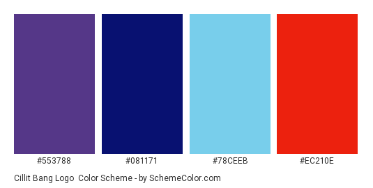 Cillit Bang Logo - Color scheme palette thumbnail - #553788 #081171 #78ceeb #ec210e