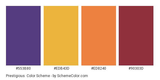 Prestigious - Color scheme palette thumbnail - #553B80 #EDB43D #ED8240 #90303D