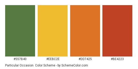 Particular Occasion - Color scheme palette thumbnail - #557b40 #eebc2e #dd7425 #be4223