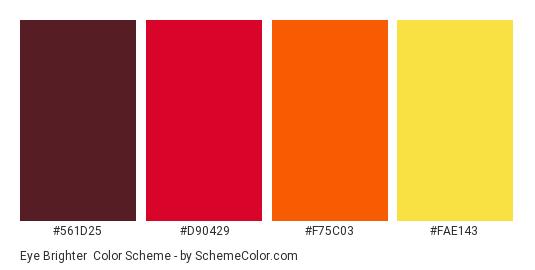 Eye Brighter - Color scheme palette thumbnail - #561d25 #d90429 #f75c03 #fae143