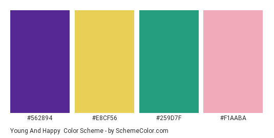 Young and Happy - Color scheme palette thumbnail - #562894 #e8cf56 #259d7f #f1aaba