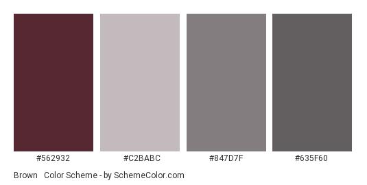 Brown & Gray - Color scheme palette thumbnail - #562932 #C2BABC #847D7F #635F60