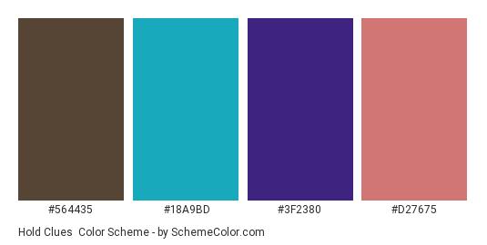 Hold Clues - Color scheme palette thumbnail - #564435 #18a9bd #3f2380 #d27675