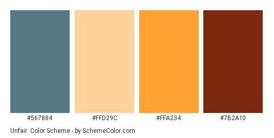 Unfair - Color scheme palette thumbnail - #567884 #FFD29C #FFA234 #7B2A10