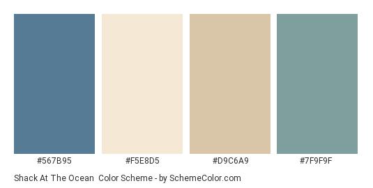 Shack at the Ocean - Color scheme palette thumbnail - #567B95 #F5E8D5 #D9C6A9 #7F9F9F