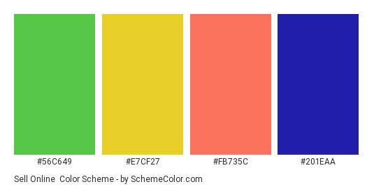 Sell Online - Color scheme palette thumbnail - #56C649 #E7CF27 #FB735C #201EAA