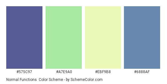 Normal Functions - Color scheme palette thumbnail - #575C97 #A7E9A0 #EBF9B8 #6888AF