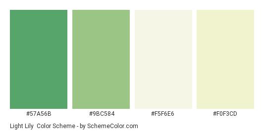 Light Lily - Color scheme palette thumbnail - #57A56B #9BC584 #F5F6E6 #F0F3CD