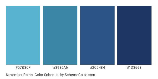November Rains - Color scheme palette thumbnail - #57B3CF #3986A6 #2C5484 #1D3663