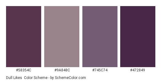 Dull Likes - Color scheme palette thumbnail - #58354C #9A848C #745C74 #472849