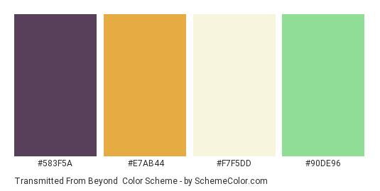 Transmitted from Beyond - Color scheme palette thumbnail - #583F5A #E7AB44 #F7F5DD #90DE96