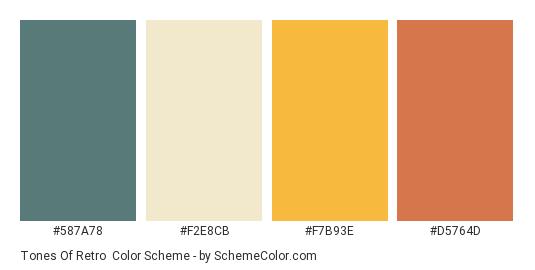 Tones of Retro - Color scheme palette thumbnail - #587A78 #F2E8CB #F7B93E #D5764D