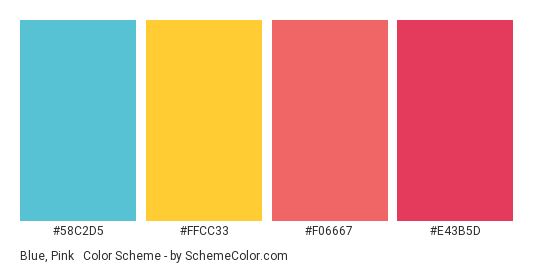 Blue Pink Yellow Mix Color Scheme Palette Thumbnail 58c2d5 Ffcc33