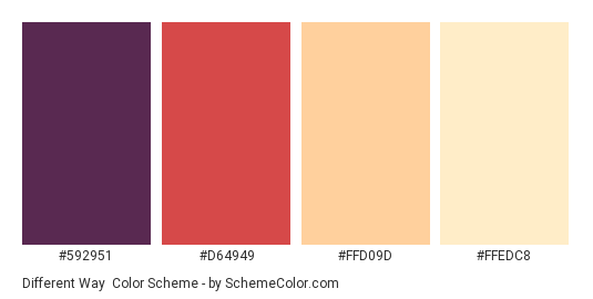 Different Way - Color scheme palette thumbnail - #592951 #d64949 #ffd09d #ffedc8