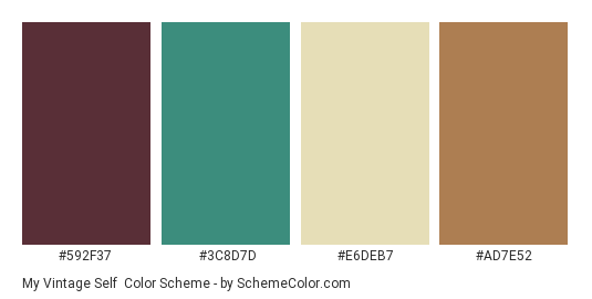 My Vintage Self - Color scheme palette thumbnail - #592f37 #3c8d7d #e6deb7 #ad7e52