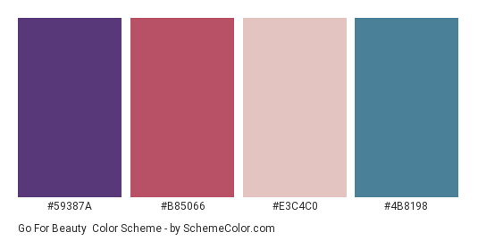 Go for Beauty - Color scheme palette thumbnail - #59387a #b85066 #e3c4c0 #4b8198