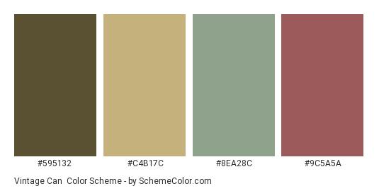 Vintage Can - Color scheme palette thumbnail - #595132 #C4B17C #8EA28C #9C5A5A