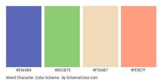 Weird Character - Color scheme palette thumbnail - #5969B8 #8DCB75 #F1DAB7 #FE9E7F