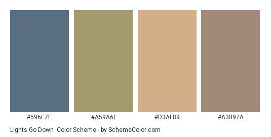 Lights Go Down - Color scheme palette thumbnail - #596e7f #a59a6e #d3af89 #a3897a