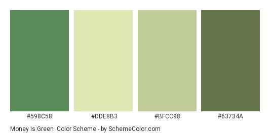 Money is Green - Color scheme palette thumbnail - #598C58 #DDE8B3 #BFCC98 #63734A