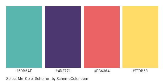 Select Me - Color scheme palette thumbnail - #59b6ae #4d3771 #ec6364 #ffdb68
