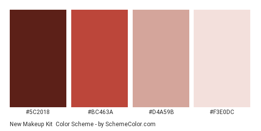 New Makeup Kit - Color scheme palette thumbnail - #5C2018 #BC463A #D4A59B #F3E0DC