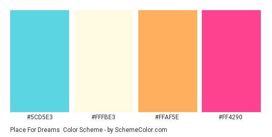 Place for Dreams - Color scheme palette thumbnail - #5CD5E3 #FFFBE3 #FFAF5E #FF4290