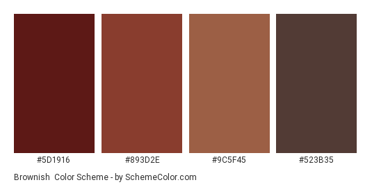 Brownish - Color scheme palette thumbnail - #5D1916 #893D2E #9C5F45 #523B35