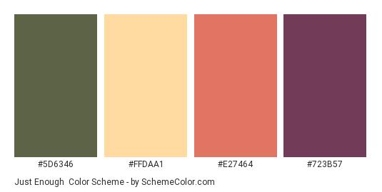 Just Enough - Color scheme palette thumbnail - #5D6346 #FFDAA1 #E27464 #723B57