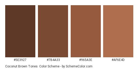Coconut Brown Tones - Color scheme palette thumbnail - #5E3927 #7B4A33 #965A3E #AF6E4D