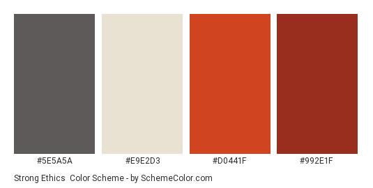 Strong Ethics - Color scheme palette thumbnail - #5E5A5A #E9E2D3 #D0441F #992E1F