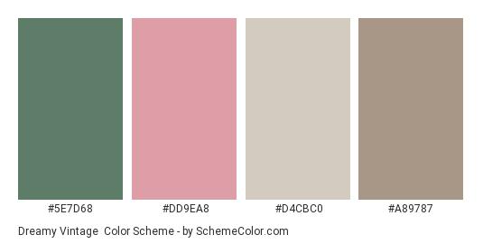 Dreamy Vintage - Color scheme palette thumbnail - #5E7D68 #DD9EA8 #D4CBC0 #A89787