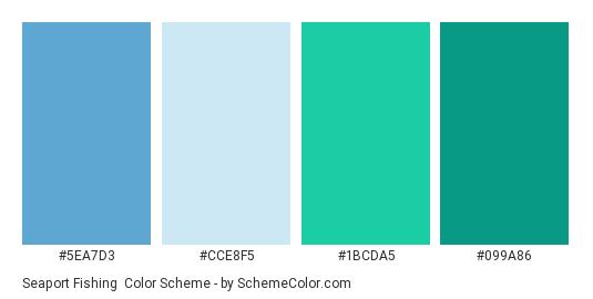 Seaport Fishing - Color scheme palette thumbnail - #5EA7D3 #CCE8F5 #1BCDA5 #099A86