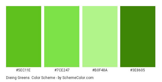 Dieing Greens - Color scheme palette thumbnail - #5EC11E #7CE247 #B0F48A #3E8605