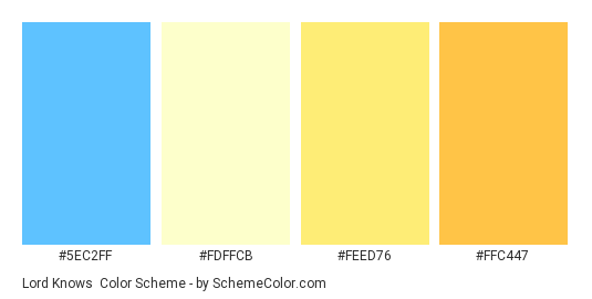 Lord Knows - Color scheme palette thumbnail - #5EC2FF #FDFFCB #FEED76 #FFC447