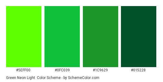 Green Neon Light - Color scheme palette thumbnail - #5EFF00 #0FC039 #1C9629 #015228
