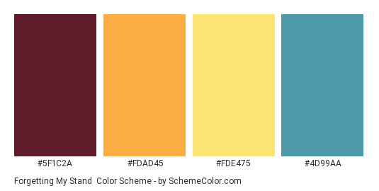Forgetting My Stand - Color scheme palette thumbnail - #5F1C2A #FDAD45 #FDE475 #4D99AA