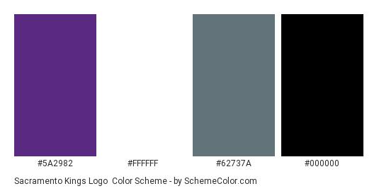Sacramento Kings Logo - Color scheme palette thumbnail - #5a2982 #ffffff #62737a #000000