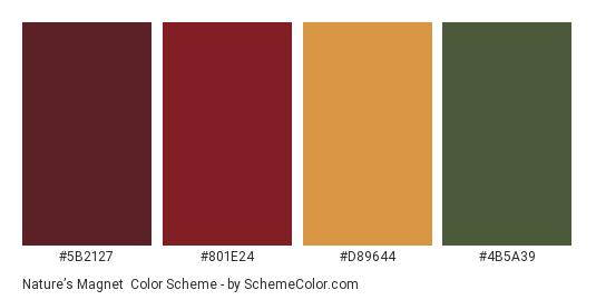 Nature's Magnet - Color scheme palette thumbnail - #5b2127 #801e24 #d89644 #4b5a39