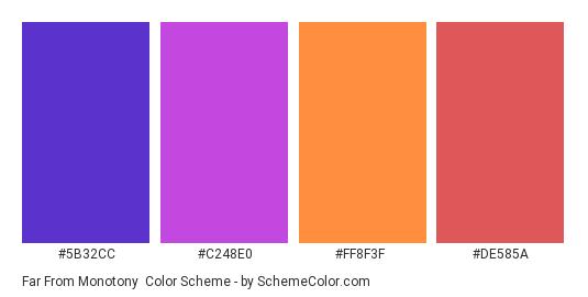 Far from Monotony - Color scheme palette thumbnail - #5b32cc #c248e0 #ff8f3f #de585a