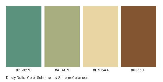 Dusty dulls - Color scheme palette thumbnail - #5b927d #a8ae7e #e7d5a4 #835531