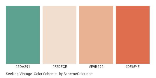 Seeking Vintage - Color scheme palette thumbnail - #5da291 #f2dece #e9b292 #de6f4e