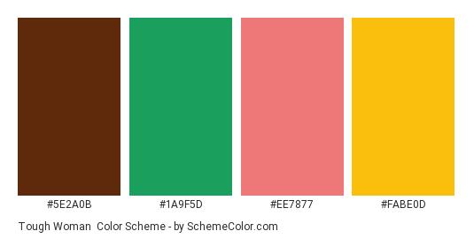 Tough Woman - Color scheme palette thumbnail - #5e2a0b #1a9f5d #ee7877 #fabe0d