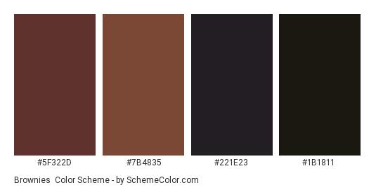 Brownies - Color scheme palette thumbnail - #5f322d #7b4835 #221e23 #1b1811