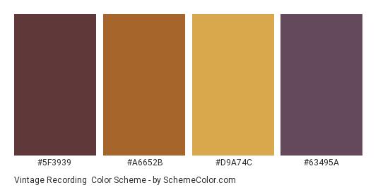 Vintage Recording - Color scheme palette thumbnail - #5f3939 #a6652b #d9a74c #63495a