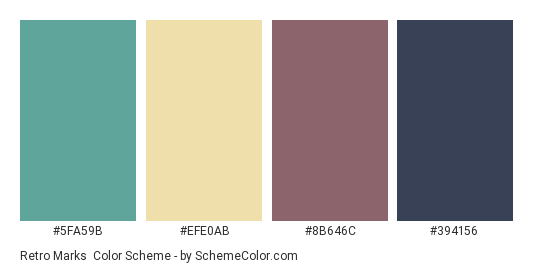 Retro Marks - Color scheme palette thumbnail - #5fa59b #efe0ab #8b646c #394156