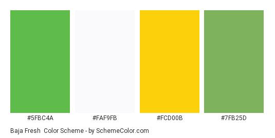 Baja Fresh - Color scheme palette thumbnail - #5fbc4a #faf9fb #fcd00b #7fb25d