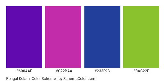 Pongal Kolam - Color scheme palette thumbnail - #600AAF #C22BAA #233F9C #8AC22E